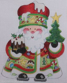 Strictly Christmas Santa Claus with Sweets Hand Painted Needlepoint Canvas | eBay  $49