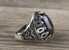 925 K Sterling Silver Man Ring  Black Onyx Gemstone 11,25 US Size