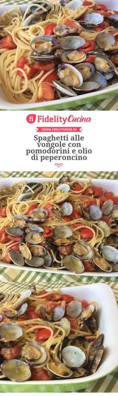Spaghetti alle vongole con pomodorini e olio di peperoncino