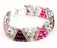 This beautiful Shades of Pink Bracelet is an easy pattern to make for beginning jewelry makers.  With a variety of crystal beads, this beaded bracelet pattern is easy to wear with any outfit.