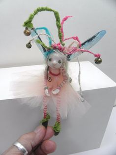 ooak poseable crazy tinkle tinkle bell hat pixie fairy ( 17 ) art doll by DinkyDarlings Clay Fairies, Flower Fairies, Craft Font, Polymer Clay Fairy, Kobold, Baby Fairy, Clothespin Dolls, Gnome, Paperclay