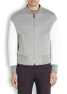 NEIL BARRETT Grey neoprene bomber jacket