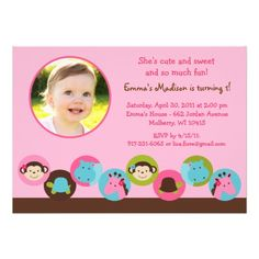 Girl Dot Safari Jungle Photo Birthday Invitations