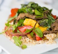 30 minute steak and mango stir fry - 215 calories!