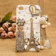 Paris Tower Bling bling iphone luxury Case bow leopard  Pearl love it