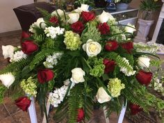 Green, greenery, white & red roses