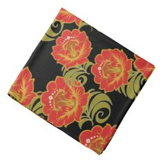 Abstract Chinese Red Flowers 2 - Bandana
