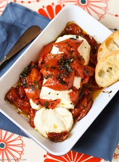 Oven Roasted Tomatoes with Warm Goat Cheese