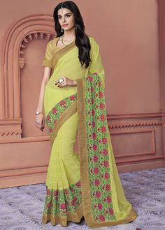 Green Soft Chiffon Embroidered Party Wear Sarees Online