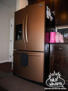 Fridge, stove, mircowave, dishwasher wrapped in DI-NOC Brushed copper vinyl. cool to cover an old dining room table with Rustic Kitchen, New Kitchen, Kitchen Dining, Kitchen Decor, Dining Room, Kitchen Tiles, Kitchen Flooring, Kitchen Furniture, Farmhouse Furniture