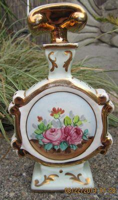 Vintage Amogee Hand Painted Porcelain Bottle Perfume Vase With Stopper 24K Gold   eBay