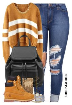 """""""Comfy Fall Look ft. Romwe."""" by cheerstostyle ❤ liked on Polyvore featuring Anne Klein, Retrò and Timberland"""