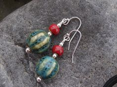 Sterling silver Earrings, silver and porcelain beads by silverwindsjewellery. Explore more products on http://silverwindsjewellery.etsy.com