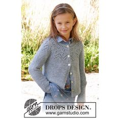 Agnes / drops children - free knitting patterns by drops design Baby Knitting Patterns, Kids Patterns, Lace Patterns, Knitting For Kids, Free Knitting, Drops Design, Girls Sweaters, Baby Sweaters, Knit Cardigan Pattern