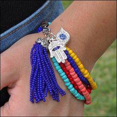 Bohemian boho beaded charm and tassel bracelet designed by Denise Yezbak Moore