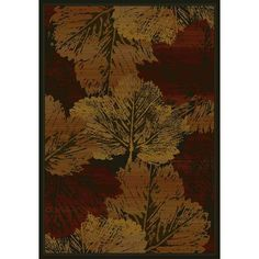 Fall Canvas Burgundy Rectangular: 3 Ft. 11-Inch x 5 Ft. 3-Inch  Rug - (In No Image Available)