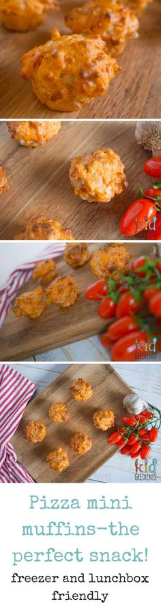 Pizza mini muffins, perfect for the lunchbox and an awesome afternoon snack. Savoury with bacon and cheese, this yummy recipe freezes well and makes 24 mini muffins!