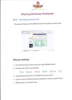 This is the rhyming dictionary worksheet that our lyrics arts award advisor used to introduce us to an easy way to find rhyming words when we are writing bars. It was a very helpful tool.