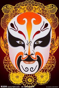Chinese ancient culture of makeup Pekin Opera, Chinese Opera Mask, Owl Doodle, Ancient Tattoo, Japanese Mask, Face Paint Makeup, Masks Art, Gorillaz, Chinese Painting
