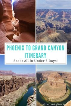 Phoenix to Grand Canyon Itinerary: See It All in Under 6 Days - The Travelling Blizzards This Grand Canyon itinerary highlights all the best things to do from Pheonix to the Grand Canyon and up to Page, Arizona! From 1 day to a week, find it here Arizona Road Trip, Arizona Travel, Road Trip Usa, Visit Arizona, Sedona Arizona, Page Arizona, Moab Utah, Phoenix Arizona, Grand Canyon Arizona