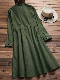 Hesimple Long Sleeve 1 Date Crew Neck Buttoned Sweet Dresses – hesimple Long Sleeve Vintage Dresses, Vintage Dresses Online, Vintage Style Dresses, Dresses With Sleeves, Kurta Designs, Designer Kurtis, Robes Vintage, Sweet Dress, Button Dress