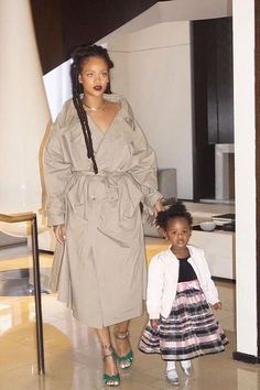 Rihanna wearing Gucci Leather Knot Sandal Emerald and Vetements Oversize Cotton Trench Coat