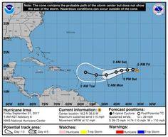 El huracán Irma avanza por el Atlántico hacia el Caribe oriental