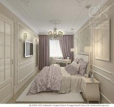 Лилово-бежевая спальня http://www.ok-interiordesign.ru/blog/fioletovy-cvet-v-interere-studii.html