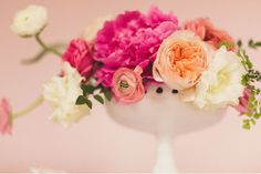 Pink, peach and ivory centerpiece