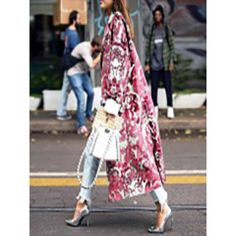 Floral Pattern Printed Long Sleeve Coat - ootdmw.com Coat Patterns, Print Patterns, 50 Fashion, Spring Fashion, Long Overcoat, Moda Casual, Print Jacket, Fashion Colours, Pattern Fashion