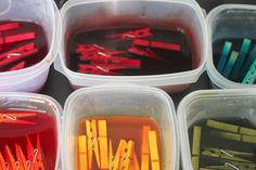 Dye clothespins in RIT dye.  Much easier than painting them all.