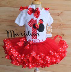 Conjunto tutú encintado Minnie Rojo Marideas