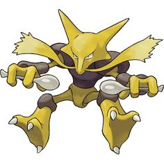 Alakazam - 065 - Its brain cells multiply continually until it dies. As a result, it remembers everything. Its brain can outperform a supercomputer. Its IQ (intelligence quotient) is said to be around 5,000.  @PokeMasters
