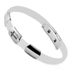 Stainless Steel And White Rubber Bracelet With Cross Cut Out Design. Stylejewelry http://www.amazon.com/dp/B005CBISNS/ref=cm_sw_r_pi_dp_6ICStb1Q2FBSHPA2