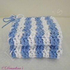 Dishcloths Cotton 9 Inch Crocheted Blue White Stripe Beach Spa Hot Pads Dish Rag #Handmade