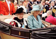 Queen Elizabeth and the Duchess of Cornwall, June 17, 2013   The Royal Hats Blog-at the Order of the Garter service