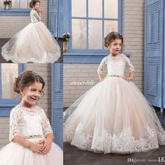Princess Blush Flower Girl Dresses for Vintage Wedding with Lace Short Sleeve Beaded Belt 2017 Cheap Junior Child First Holy Communion Dress Flower Girl Dresses Cheap Girls Pageant Dresses Online with 98.0/Piece on Sweet-life's Store | DHgate.com