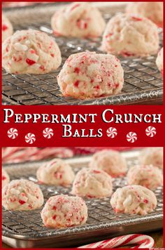 Whether you call em candy cane cookies or peppermint crunch balls, youre going to love this easy holiday cookie! Easy Holiday Cookies, Holiday Cookie Recipes, Holiday Baking, Xmas Cookies, Holiday Foods, Holiday Desserts, Christmas Recipes, Holiday Ideas, Christmas Ideas