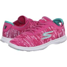 SKECHERS Performance Go Step - One-Off (Pink) Women's Walking Shoes ($43) ❤ liked on Polyvore featuring shoes, pink, mesh shoes, pink ballerina shoes, lace up ballet shoes, lace up shoes and pink shoes