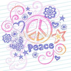 Hand-Drawn Sketchy Peace Sign Doodles with Butterfly, Hearts, Stars — Imagens vectoriais em stock