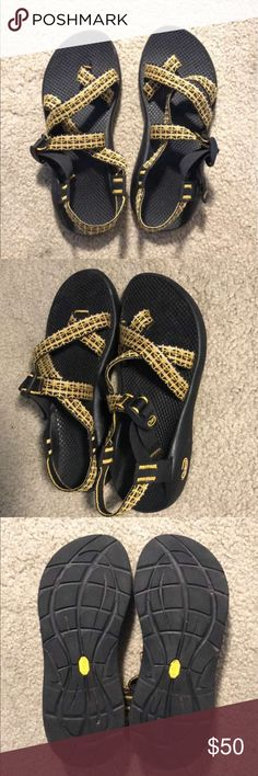 Chacos Yellow chacos. Worn a few times. Great price. Chaco Shoes Sandals