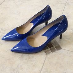 Michael Kors Patent Leather Kitten Heels Stunning vibrant blue patent leather kitten heels. Worn only twice! Slight black marks as seen in last pic. Other than that, great condition! Michael Kors Shoes