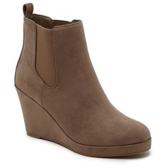 Women's Revel Maya Wedge Faux Suede Booties - Taupe Brown