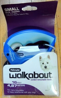 NEW! WALKABOUT PETMATE CORDED RETRACTABLE LEASH 16' LONG DOGS UP TO 18 LBS. #Petmate