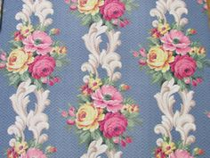 VINTAGE-Barkcloth-BLUE-Pink-Roses-Scrolls-Drapery-Fabric-65x67-Cottage-Home