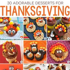 Looking for cute, fun, and easy Thanksgiving desserts? Here are 30 fabulous Thanksgiving dessert recipes! From turkeys to corn, from pilgrim hats to pumpkin pie, there's sure to be something here that fits the bill!