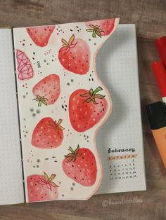 Wanted to try a dutch door type style 🍓🍓 - bulletjournal Bullet Journal Cover Ideas, Bullet Journal Lettering Ideas, Bullet Journal Notebook, Bullet Journal School, Bullet Journal Spread, Bullet Journal Ideas Pages, Bullet Journal Inspiration, Journal Covers, Bullet Journals
