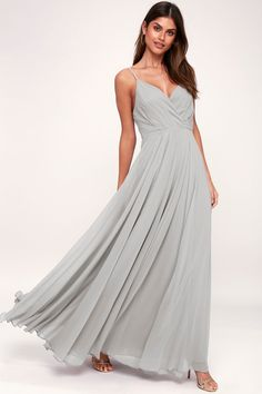 All great love stories start with the Lulus All About Love Light Grey Maxi Dress! Woven poly shapes a pleated, surplice bodice, fitted waist, and cascading maxi skirt. Hidden back zipper/clasp. Light Grey Bridesmaid Dresses, Blush Dresses, Maxi Dresses, Grey Dresses, Bride Dresses, Casual Dresses, Short Beach Dresses, Long Dresses, Formal Dresses