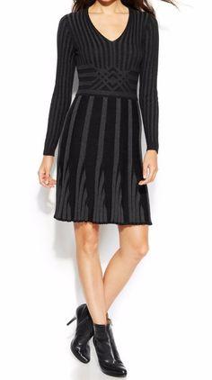 Studio M Black/Charcoal Gray Ribbed Sweater Dress Business/Career Size L ~ NWT #StudioM #SweaterDress #WeartoWork