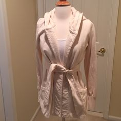 Lucky Brand hooded cardigan Excellent condition! Pockets, belt and a hood! 100% cotton... Very comfy! Lucky Brand Jackets & Coats